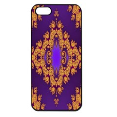 Something Different Fractal In Orange And Blue Apple Iphone 5 Seamless Case (black)
