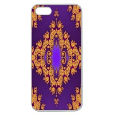Something Different Fractal In Orange And Blue Apple Seamless Iphone 5 Case (clear)