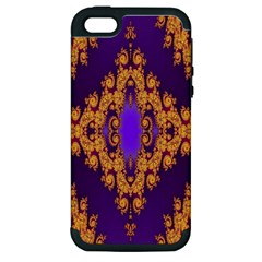 Something Different Fractal In Orange And Blue Apple iPhone 5 Hardshell Case (PC+Silicone)