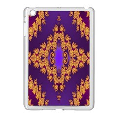 Something Different Fractal In Orange And Blue Apple iPad Mini Case (White)