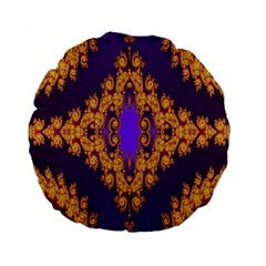 Something Different Fractal In Orange And Blue Standard 15  Premium Round Cushions