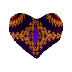 Something Different Fractal In Orange And Blue Standard 16  Premium Heart Shape Cushions
