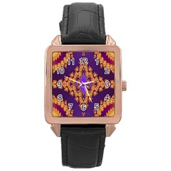 Something Different Fractal In Orange And Blue Rose Gold Leather Watch