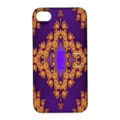 Something Different Fractal In Orange And Blue Apple iPhone 4/4S Hardshell Case with Stand