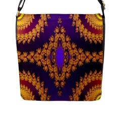Something Different Fractal In Orange And Blue Flap Messenger Bag (l)