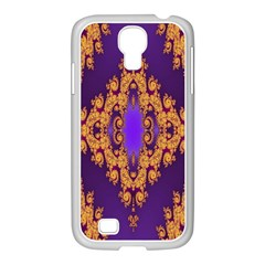 Something Different Fractal In Orange And Blue Samsung GALAXY S4 I9500/ I9505 Case (White)