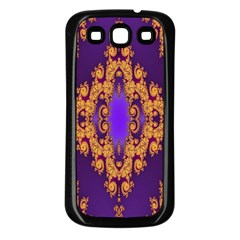 Something Different Fractal In Orange And Blue Samsung Galaxy S3 Back Case (Black)