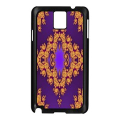 Something Different Fractal In Orange And Blue Samsung Galaxy Note 3 N9005 Case (Black)