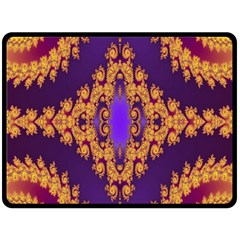Something Different Fractal In Orange And Blue Double Sided Fleece Blanket (Large)
