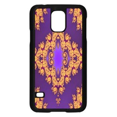 Something Different Fractal In Orange And Blue Samsung Galaxy S5 Case (black)