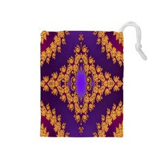 Something Different Fractal In Orange And Blue Drawstring Pouches (Medium)