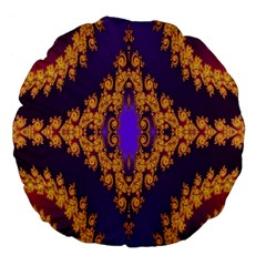Something Different Fractal In Orange And Blue Large 18  Premium Flano Round Cushions