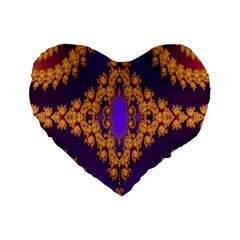Something Different Fractal In Orange And Blue Standard 16  Premium Flano Heart Shape Cushions