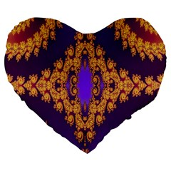Something Different Fractal In Orange And Blue Large 19  Premium Flano Heart Shape Cushions