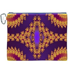 Something Different Fractal In Orange And Blue Canvas Cosmetic Bag (XXXL)