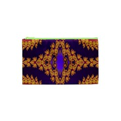 Something Different Fractal In Orange And Blue Cosmetic Bag (XS)