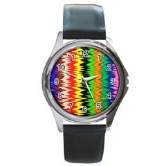 Colorful Liquid Zigzag Stripes Background Wallpaper Round Metal Watch