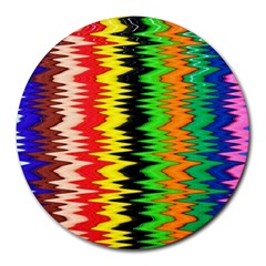 Colorful Liquid Zigzag Stripes Background Wallpaper Round Mousepads