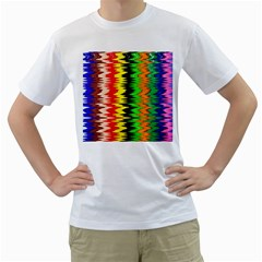 Colorful Liquid Zigzag Stripes Background Wallpaper Men s T Shirt (white) (two Sided)
