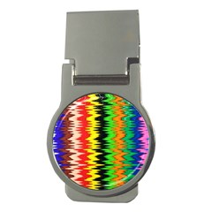 Colorful Liquid Zigzag Stripes Background Wallpaper Money Clips (round)