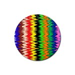 Colorful Liquid Zigzag Stripes Background Wallpaper Rubber Coaster (Round)  Front