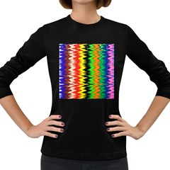Colorful Liquid Zigzag Stripes Background Wallpaper Women s Long Sleeve Dark T Shirts