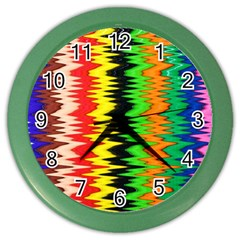 Colorful Liquid Zigzag Stripes Background Wallpaper Color Wall Clocks