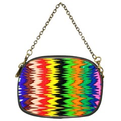 Colorful Liquid Zigzag Stripes Background Wallpaper Chain Purses (one Side)