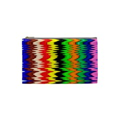 Colorful Liquid Zigzag Stripes Background Wallpaper Cosmetic Bag (small)