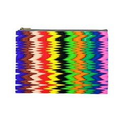 Colorful Liquid Zigzag Stripes Background Wallpaper Cosmetic Bag (large)