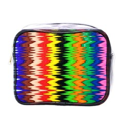 Colorful Liquid Zigzag Stripes Background Wallpaper Mini Toiletries Bags