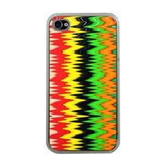 Colorful Liquid Zigzag Stripes Background Wallpaper Apple iPhone 4 Case (Clear)