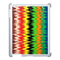 Colorful Liquid Zigzag Stripes Background Wallpaper Apple iPad 3/4 Case (White)
