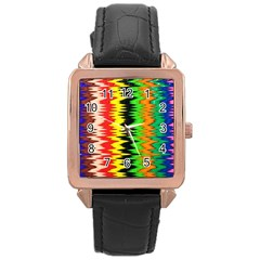 Colorful Liquid Zigzag Stripes Background Wallpaper Rose Gold Leather Watch