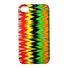 Colorful Liquid Zigzag Stripes Background Wallpaper Apple iPhone 4/4S Hardshell Case with Stand