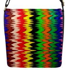 Colorful Liquid Zigzag Stripes Background Wallpaper Flap Messenger Bag (S)