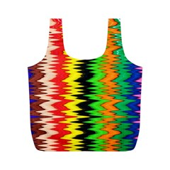 Colorful Liquid Zigzag Stripes Background Wallpaper Full Print Recycle Bags (m)