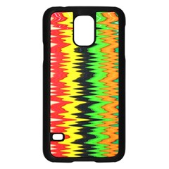 Colorful Liquid Zigzag Stripes Background Wallpaper Samsung Galaxy S5 Case (black)