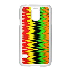 Colorful Liquid Zigzag Stripes Background Wallpaper Samsung Galaxy S5 Case (White)