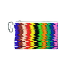Colorful Liquid Zigzag Stripes Background Wallpaper Canvas Cosmetic Bag (S)