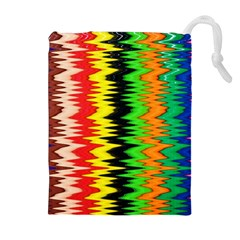 Colorful Liquid Zigzag Stripes Background Wallpaper Drawstring Pouches (extra Large)