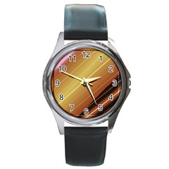Diagonal Color Fractal Stripes In 3d Glass Frame Round Metal Watch