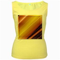 Diagonal Color Fractal Stripes In 3d Glass Frame Women s Yellow Tank Top