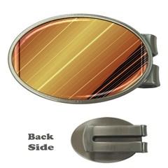 Diagonal Color Fractal Stripes In 3d Glass Frame Money Clips (oval)