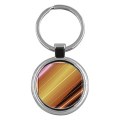 Diagonal Color Fractal Stripes In 3d Glass Frame Key Chains (Round)