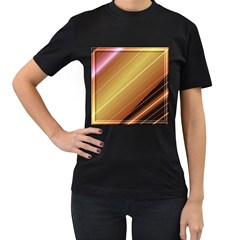 Diagonal Color Fractal Stripes In 3d Glass Frame Women s T-Shirt (Black) (Two Sided)