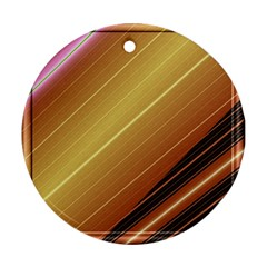 Diagonal Color Fractal Stripes In 3d Glass Frame Round Ornament (two Sides)