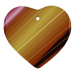 Diagonal Color Fractal Stripes In 3d Glass Frame Heart Ornament (two Sides)