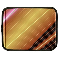Diagonal Color Fractal Stripes In 3d Glass Frame Netbook Case (xxl)