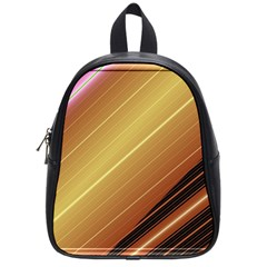 Diagonal Color Fractal Stripes In 3d Glass Frame School Bags (small)